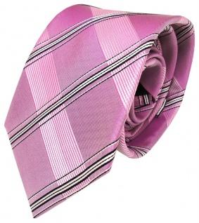 Designer Krawatte in rosa pink lila kariert gemustert 100% Seide