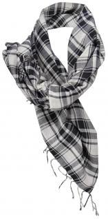 Halstuch schwarz weiß kariert mit Fransen an zwei Seiten - Gr. 100 x 100 cm