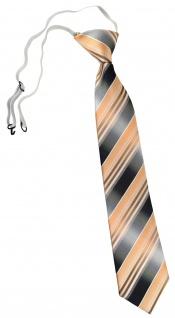 TigerTie Kinderkrawatte lachs orange silber anthrazit gestreift - mit Gummizug