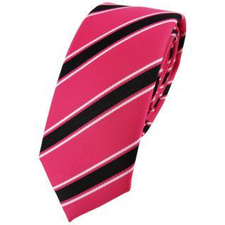 Schmale TigerTie Designer Krawatte pink rosa schwarz weiß gestreift - Binder Tie