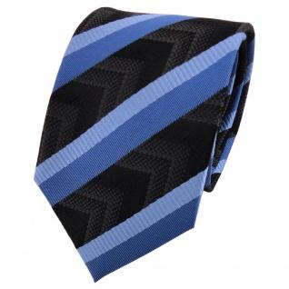 TigerTie Designer Seidenkrawatte blau hellblau schwarz anthrazit gestreift