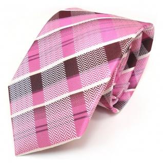 TigerTie Designer Seidenkrawatte in pink rosa lila violett weiss kariert