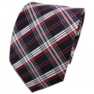 TigerTie Designer Seidenkrawatte rot schwarzblau grau silber schwarz kariert