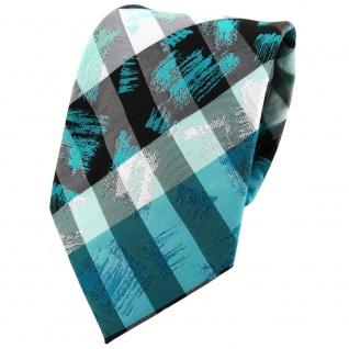 TigerTie Designer Krawatte in türkis grau silber schwarz gestreift - Tie Binder