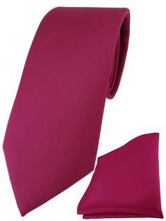 TigerTie Designer Krawatte + TigerTie Einstecktuch in pink einfarbig uni