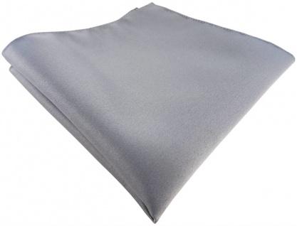 TigerTie Einstecktuch in silber grau einfarbig Uni - Tuch Polyester - 26 x 26 cm - Vorschau