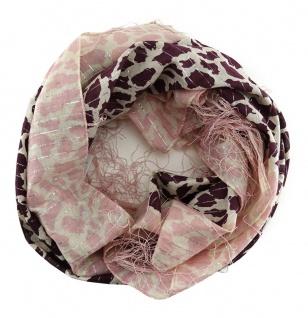 Halstuch in rosa beige bordeaux Lurex Glitzerfaden gemustert mit langen Fransen