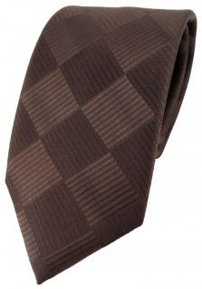 schöne Designer Seidenkrawatte braun dunkelbraun kariert - Krawatte 100% Seide