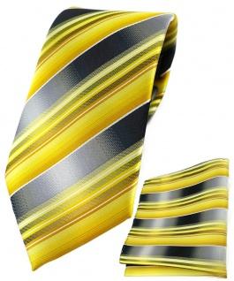 TigerTie Krawatte + Einstecktuch in gelb gold silber anthrazit grau gestreift
