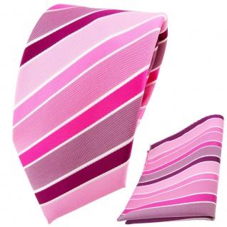 TigerTie Designer Krawatte + Einstecktuch rosa magenta pink lila weiß gestreift