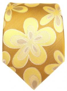 Seidenkrawatte goldgelb mit Blumenmotiven - Krawatte 100% Seide