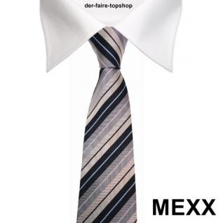 MEXX Seidenkrawatte blau silber grau gestreift - Krawatte Tie Seide Silk