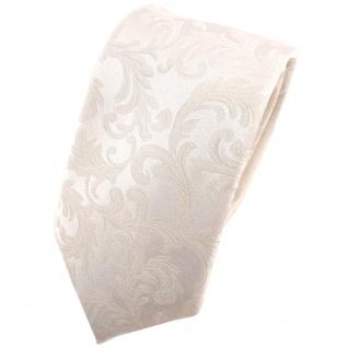 schmale Hochzeit Seidenkrawatte creme Uni Rankenmuster - Krawatte 100% Seide