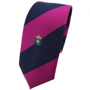 Schmale TigerTie Krawatte lila violett pupur dunkelblau gestreift Wappen - Tie