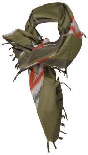 Halstuch grün grau rot mit Fransen - Glitzerfäden eingearbeitet - Gr. 90 x 90 cm