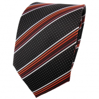 TigerTie Krawatte in orange braun silberweiss schwarz gestreift - Binder