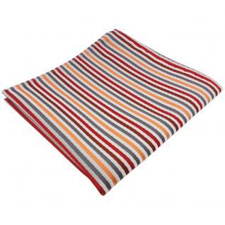 TigerTie Einstecktuch in orange rot braun silber grau gestreift - Tuch Polyester