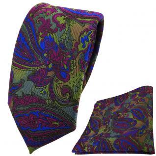 schmale TigerTie Krawatte +Einstecktuch violett blau olivegrün Paisley gemustert