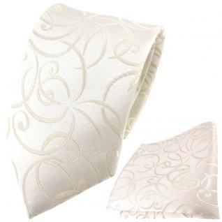 Hochzeit Seidenkrawatte + Einstecktuch ecrue creme Rankenmuster Uni - 100% Seide