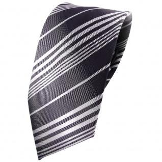 TigerTie Krawatte anthrazit schwarz silber grau gestreift - Tie Binder