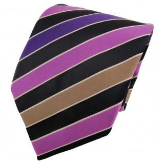 TigerTie Satin Krawatte lila violett schwarz silber gestreift - Binder Schlips