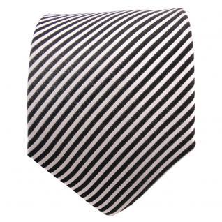 TigerTie Seidenkrawatte anthrazit grau silber weiß gestreift - Krawatte Seide - Vorschau 2