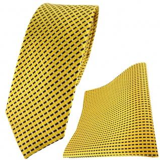 schmale TigerTie Seidenkrawatte + Einstecktuch gelb silber schwarz gestreift