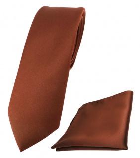 schmale TigerTie Schlips Krawatte + Einstecktuch braun rot rotbraun uni Binder