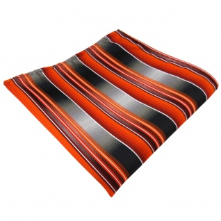 TigerTie Einstecktuch in orange anthrazit silber grau gestreift - Tuch Polyester