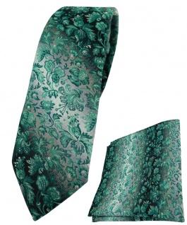 schmale TigerTie Krawatte + Einstecktuch in grün grausilber geblümt gemustert