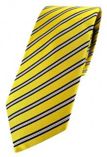 TigerTie - hochwertige Seidenkrawatte in gelb gelbgold schwarz silber gestreift