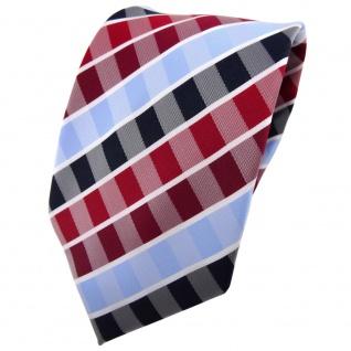 TigerTie Krawatte rot rubinrot blau hellblau weiß gestreift - Binder Tie - Vorschau 1