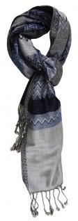 TigerTie Schal in blau marine silber grau schwarz gemustert- 190 x 70 cm