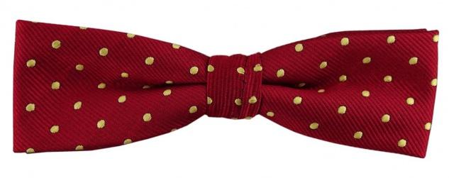 schmale TigerTie Fliege rot gold gepunktet + Box, 33 bis 50 cm verstellbar
