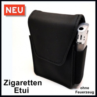 Zigaretten Etui schwarz mit Feuerzeugfach - NEUWARE