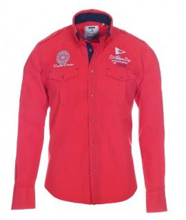 Pontto Designer Hemd Shirt in rot knallrot einfarbig langarm Modern-Fit Gr. S