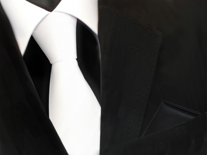schöne TigerTie Krawatte in weiß schneeweiß + Einstecktuch schwarz uni - Binder