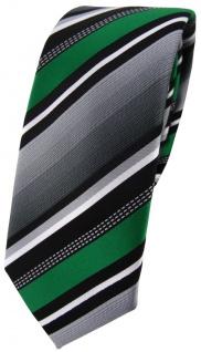 schmale TigerTie Designer Krawatte in grün silber grau weiss gestreift - Schlips