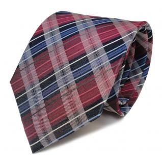 Designer Seidenkrawatte rot rubinrot blau grau weiss gestreift - Krawatte Seide