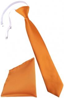 TigerTie Kinderkrawatte + Einstecktuch in orange - vorgebunden mit Gummizug