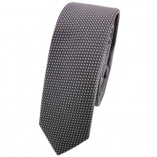 Schmale TigerTie Seidenkrawatte anthrazit silber gepunktet - Krawatte Seide Tie