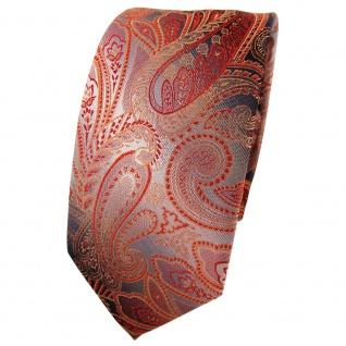 Schmale TigerTie Seidenkrawatte orange rot anthrazit grau Paisley - Krawatte tie