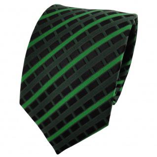 TigerTie Seidenkrawatte grün dunkelgrün schwarz kariert - Krawatte 100% Seide