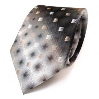 TigerTie Seidenkrawatte gold beige anthrazit grau silber schwarz - Krawatte Tie