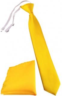 TigerTie Kinderkrawatte + Einstecktuch in gelb - vorgebunden mit Gummizug