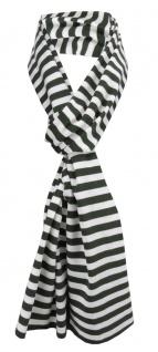 Damen Schal grün dunkelgrün weiß gestreift Gr. 172 cm x 27 cm - Halstuch Tuch