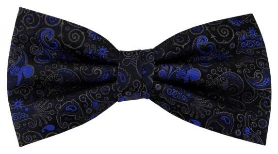 TigerTie Seidenfliege blau anthrazit schwarz gemustert Ornamente - Fliege Seide