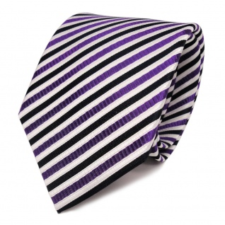 Designer Seidenkrawatte lila weiss blau dunkelblau gestreift - Krawatte Seide