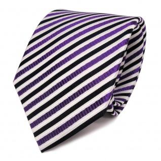 TigerTie Seidenkrawatte lila weiss blau dunkelblau gestreift - Krawatte Seide