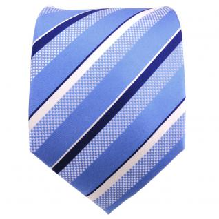 TigerTie Designer Seidenkrawatte blau silber weiß gestreift - Krawatte Seide - Vorschau 2